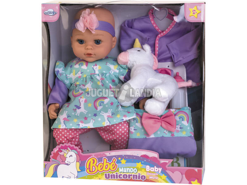 Bebè 40 cm con Unicorno e Accessori