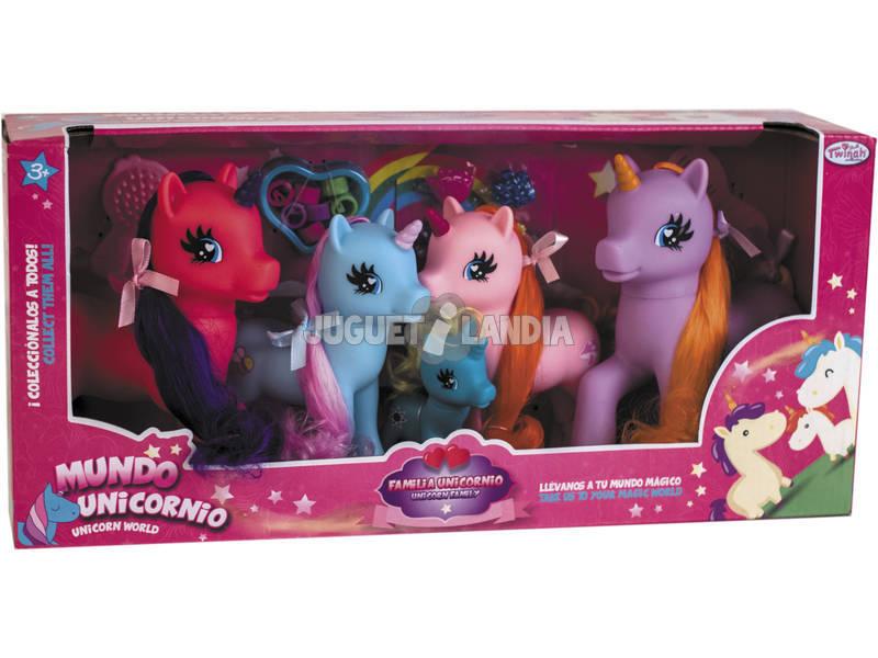 Familia 5 Unicornios con Accesorios
