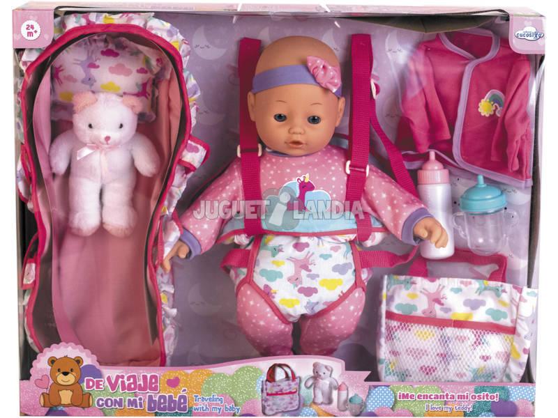 Bambola 40 cm con Accessori Viaggio