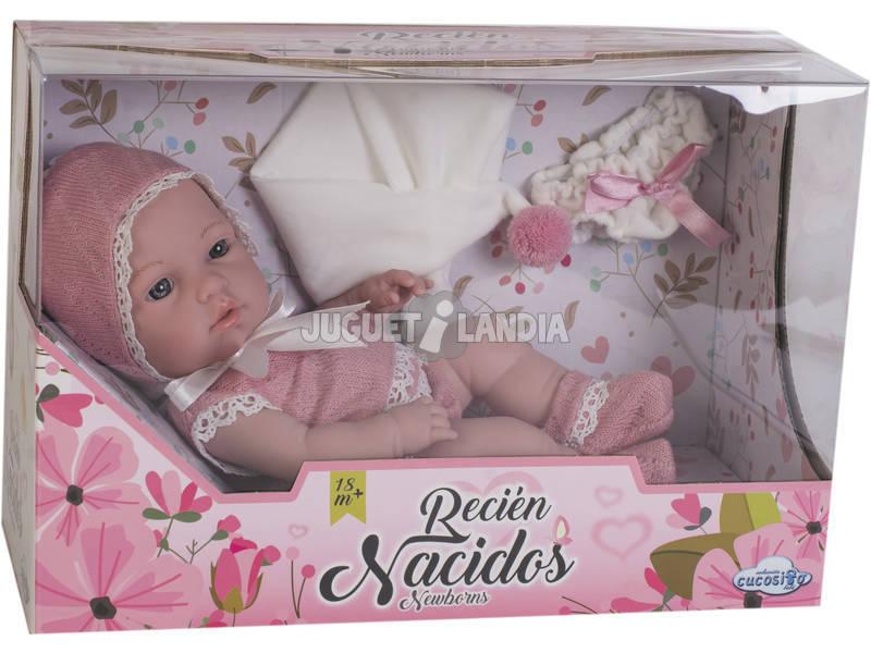 Bebé 25 cm. Ropa Ganchillo Rosa Vino y Blanco