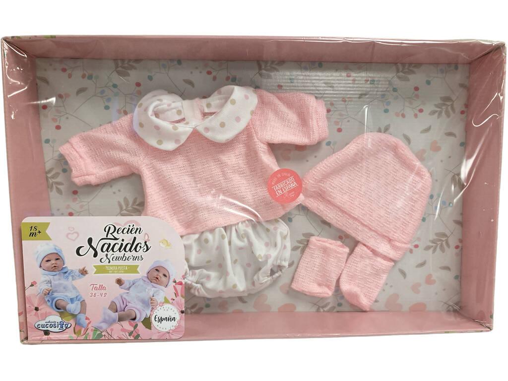 Traje Bebé Lana Lunares Rosa 38-42 cm