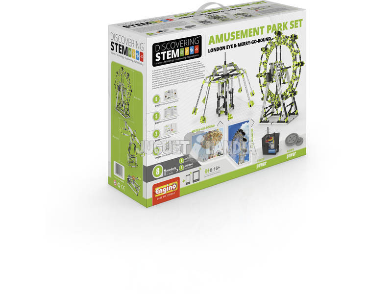 Set Costruzione Stem 2 in 1 Parchi di Divertimento London Eye e Giostra Engino STEM56