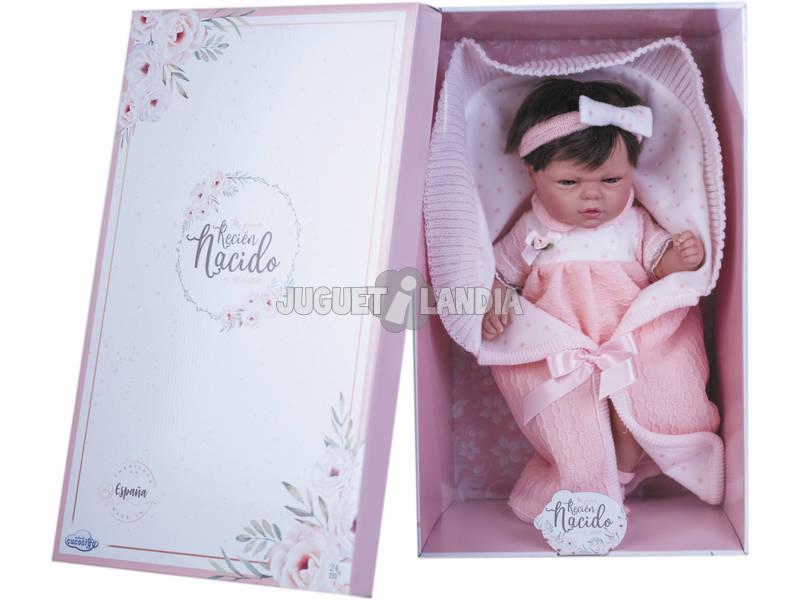 Muñeca Reborn Con Pelo Vestido Lana Rosa y Estrellas