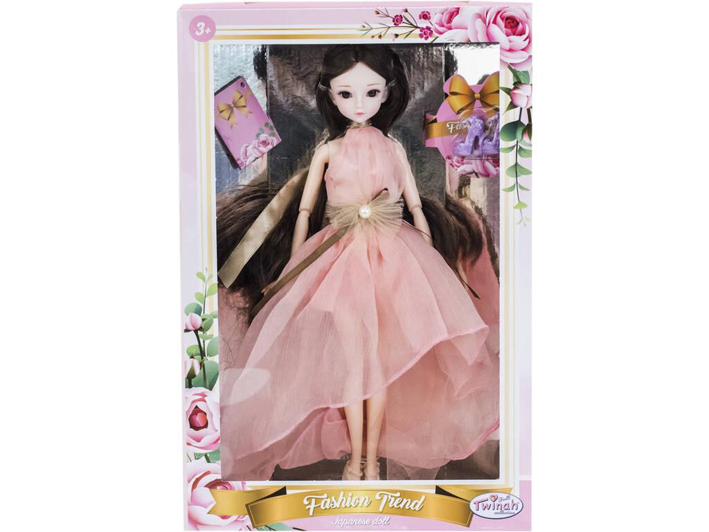 Bambola Stile Giappone 29 cm. Vestito Rosa Senza Maniche