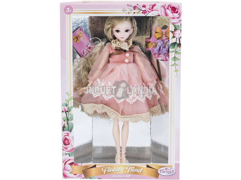 Bambola Stile Giappone 29 cm. Vestito Rosa