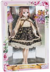 imagen Muñeca Estilo Japón 29 cm. Falda Negra y Flores