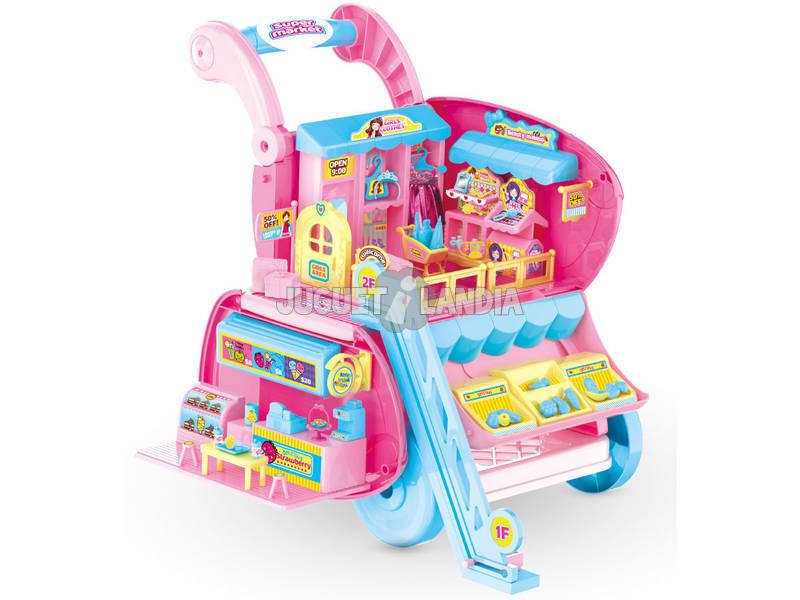 Playset Carrello Supermercato trasformabile con Bambola e accessori