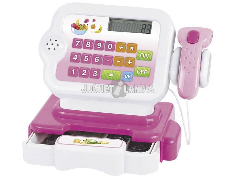 Registratore di Cassa Rosa Con Calcolatrice, Scanner e Cestino della Spesa 5 Accessori