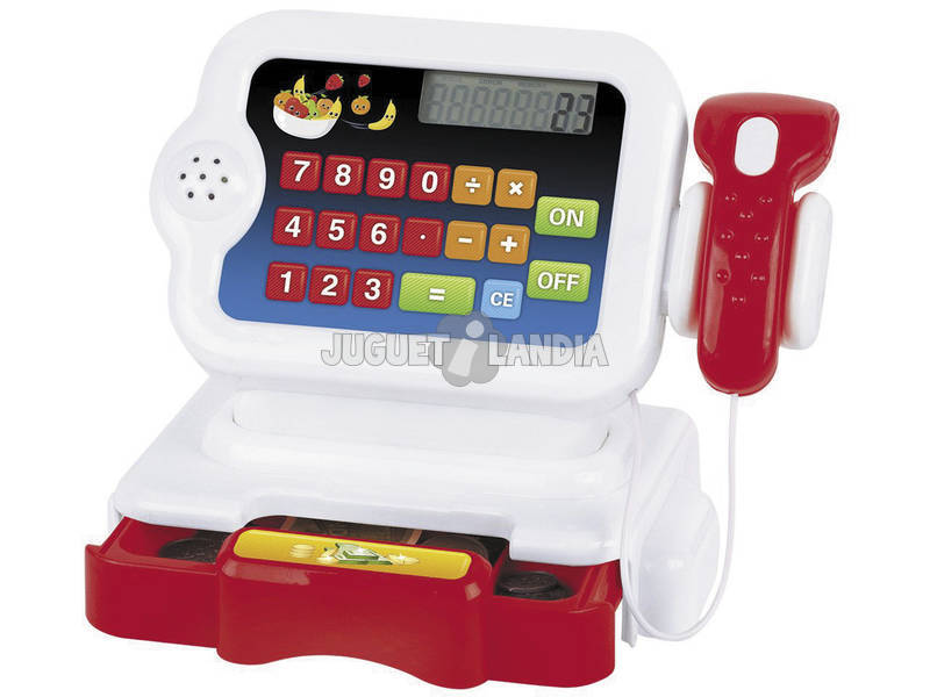Caja Registradora Roja Con Calculadora y Accesorios