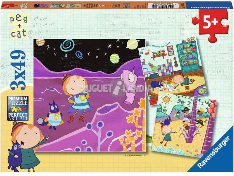 Puzzle Peg+Cat 3x49 Pezzi Ravensburger 080595