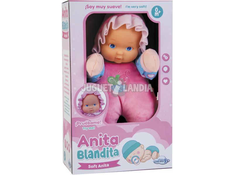 Muñeca Cucosito Anita Blandita 30 cm. Rosa Azul