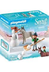 Playmobil Spirit Muñeco de Nieve con Trasqui y Señor Zanahoria 70398