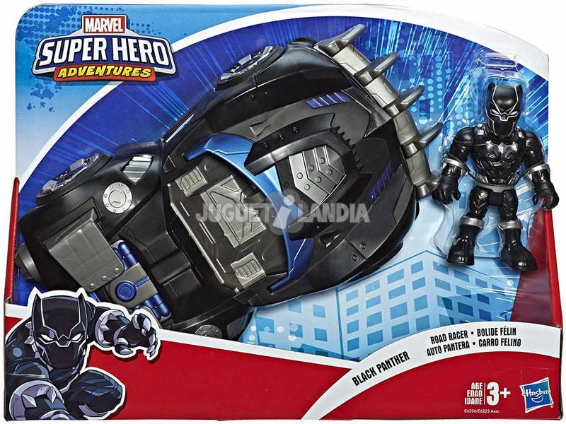 Avengers Super Hero Adventures Black Panther con Road Racer Hasbro E6256