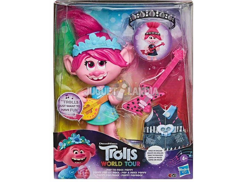 Trolls World Tour Muñeca Poppy Rock Hasbro E9411