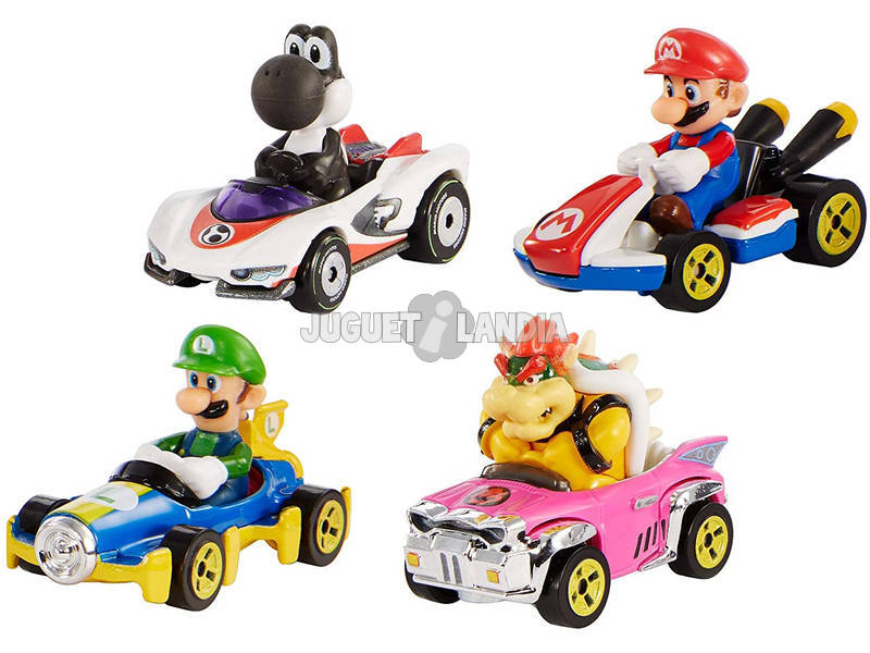 Hot Wheels Pack 4 Vehículos Mario Kart Mattel GLN53