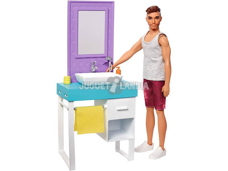 Barbie Muñeco Ken y Mobiliario Aseo Mattel FYK53