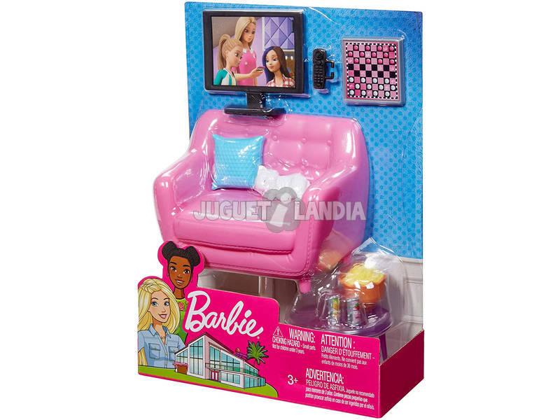Barbie Muebles Interior Sofá con Gatito Mattel FXG36