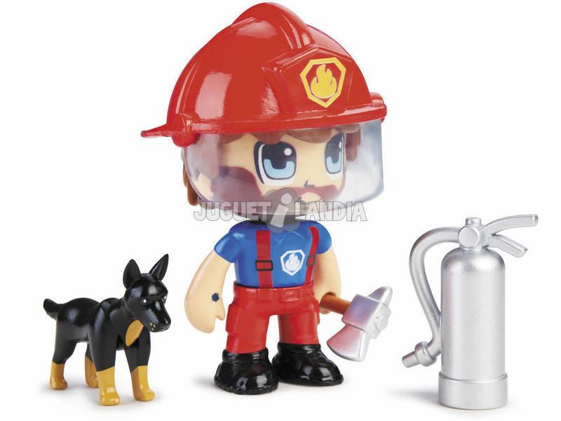 Pinypon Action Figurine Pompier avec un Berger Allemand Famosa 700015151