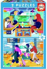 Puzzle 2X48 Aéroport + Train Educa 18604