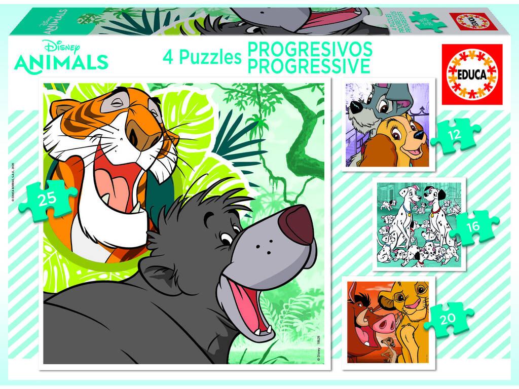 Puzzle Progresivos 12-16-20-25 Disney Animals Educa 18628
