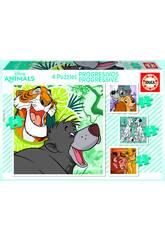 Progressive Puzzle 12-16-20-25 Disney Tiere von Educa 18628