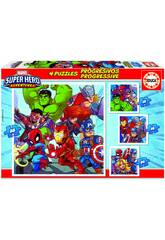Puzzle Progresivos Marvel Super Heroe Adventures 12-16-20-25 Educa 18647