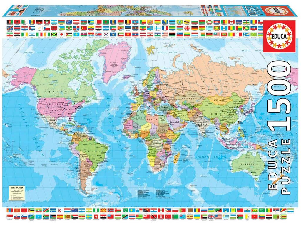 Puzzle 1500 Mapamundi Político Educa 18500