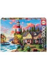 Puzzle 3000 Leuchtturms in der Nähe des Ozeans Educa 18507