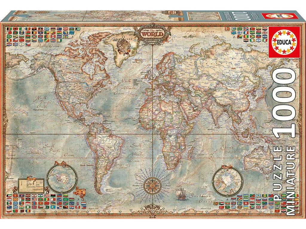 Puzzle 1000 El Mundo, Mapa Político Miniature Educa 16764