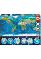 Puzzle 1000 Mappamondo Fisico Neon Educa 16760