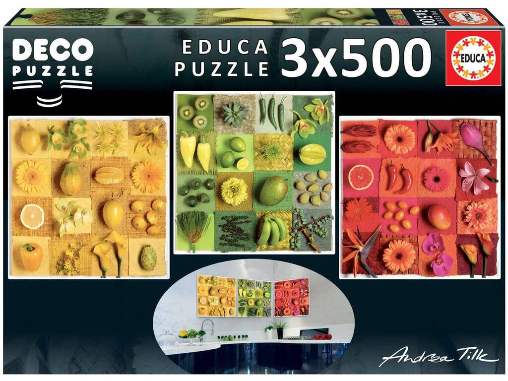 Puzzle 3x500 Exotic Fruits And Flowers, Andrea Tilk Educa 18454