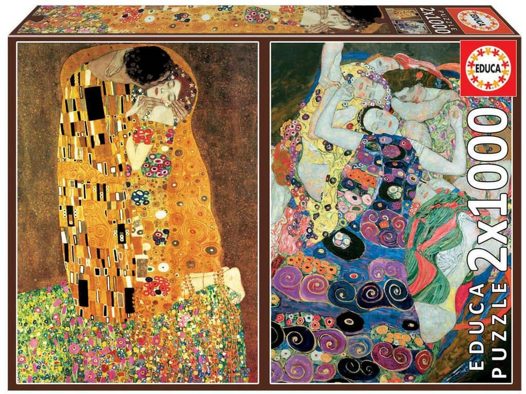 Puzzle 2x1000 El Beso + La Virgen, Gustav Klimt Educa 18488