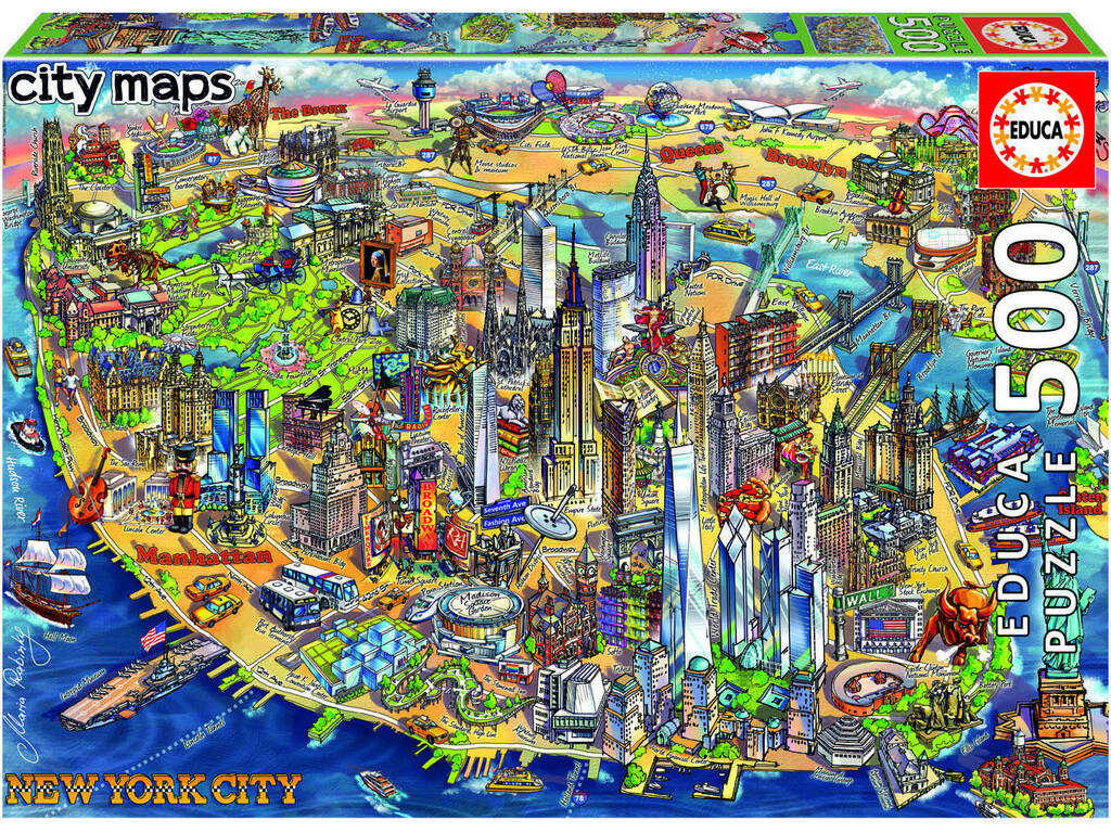 Puzzle 500 Mapa De Nueva York City Maps Educa