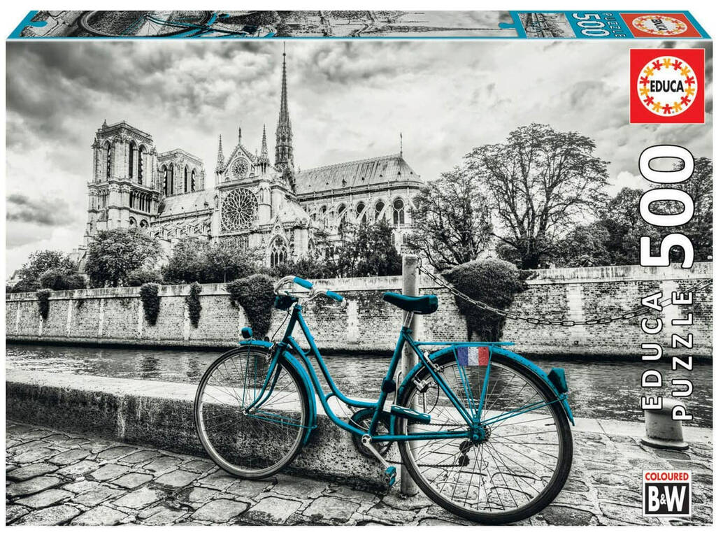 Puzzle 500 Bicicleta Cerca De Notre Dame Coloured B&W Educa 18482