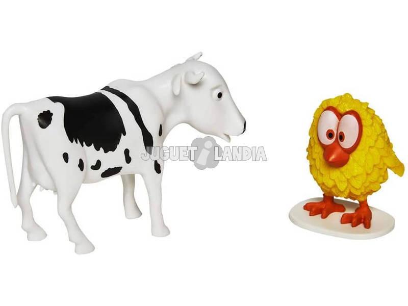 La Ferme De Zenón Kit 2 Figurines Vache Folle et Poussin Piou Bandai 82001