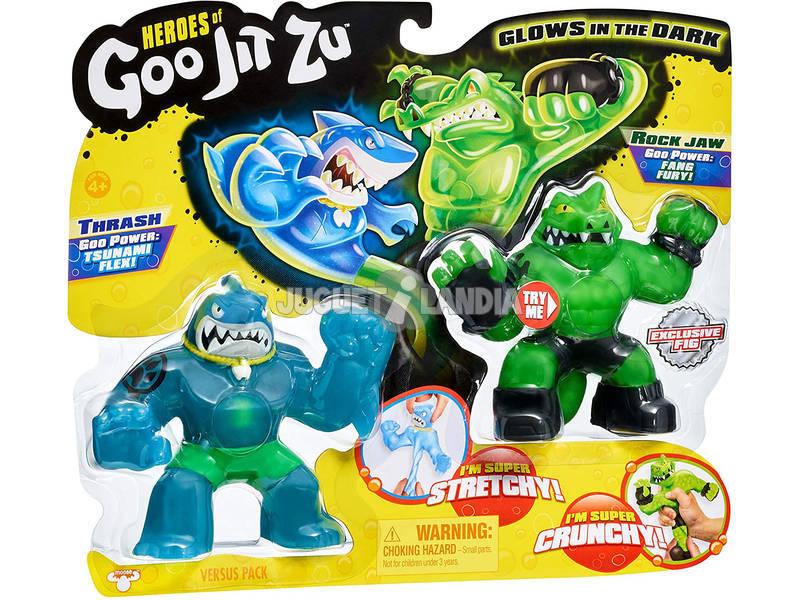 Heroes of Goo Jit Zu Pack 2 Figuras Thrash Vs Rock Bandai 41016
