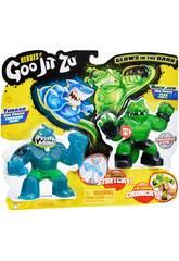 Heroes of Goo Jit Zu Pack 2 Figurines Thrash Vs Rock Bandai 41016