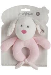 Chien Pink Hochet en Peluche 18 cm. Creaciones Llopis 25504