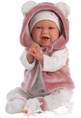 Weinende Neugeborene Puppe Fuchsia Jacke 42 cm. Llorens 74070