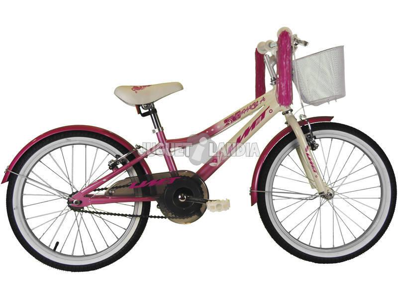 Bicicleta de 20 XT20 Diana Rosa y Blanca con Cesta Umit 2071-35