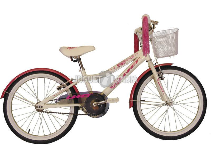 Bicicleta XT20 Diana 20 Blanca y Rosa con Cesta Umit 2071-53