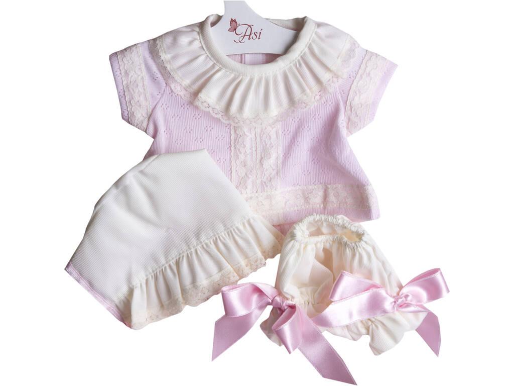 Vestido Muñeca 43 cm. Conjunto Bebé Punto Rosa Puntillas Asivil 3364580