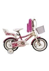 Bicicleta 12 Diana Rosa y Blanca con Cesta y Portamuñecas Umit 1271-35