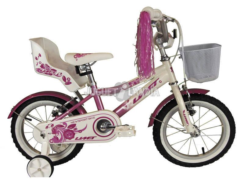 Bicicleta 14 Diana Rosa y Blanca con Cesta y Portamuñecas Umit 1471-35