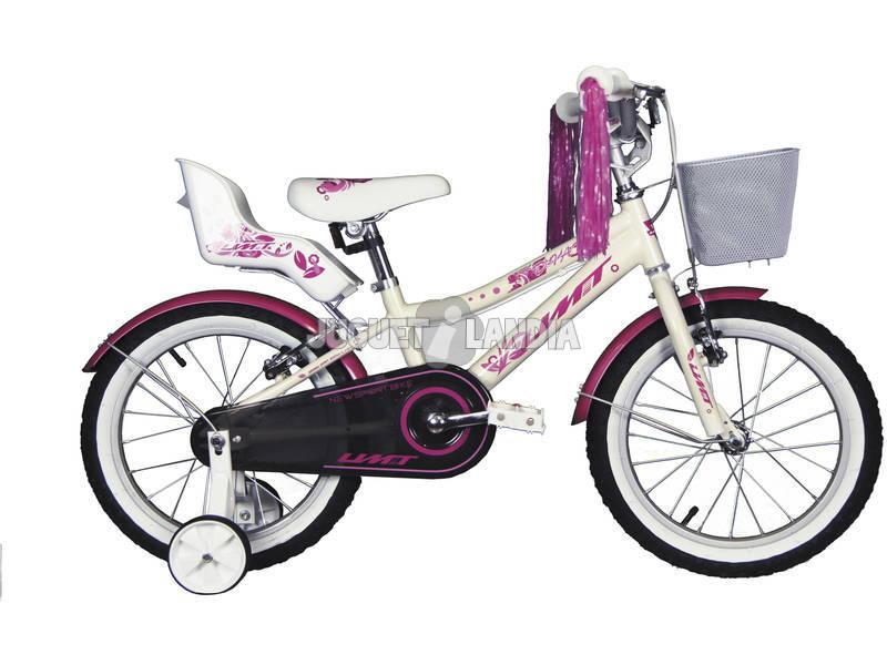 Bicicleta 16 Diana Blanca y Rosa con Cesta y Portamuñecas Umit 1671-53