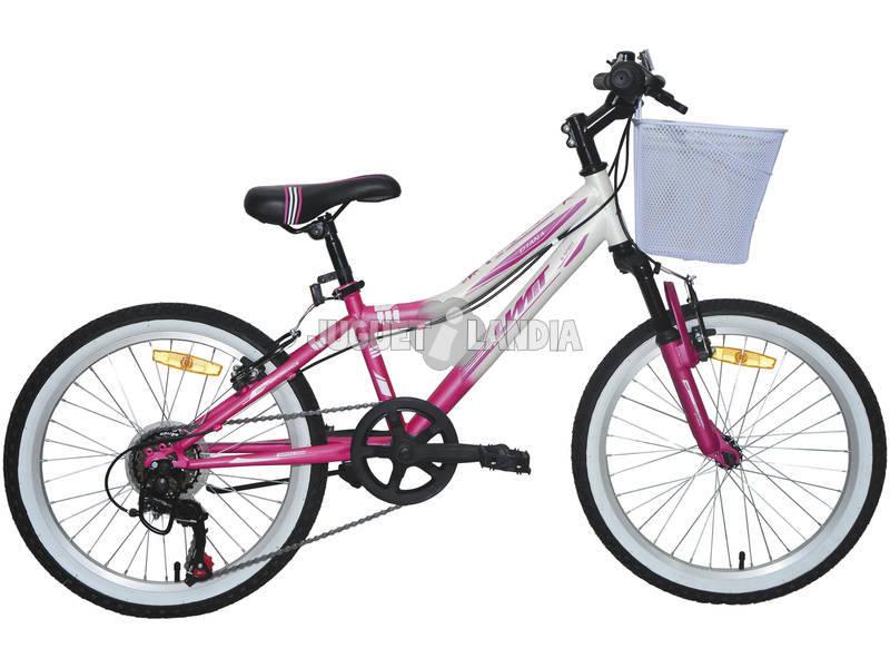 Bicicleta XR-200 Diana Rosa y Blanca con Cambio Shimano 6v y Cesta Umit 2072CS-35