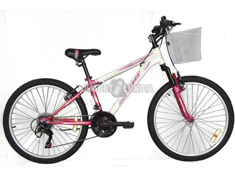 Bicicleta XR-240 Rosa y Blanca con Cambio Shimano 18v y Cesta Umit 2471CS-35