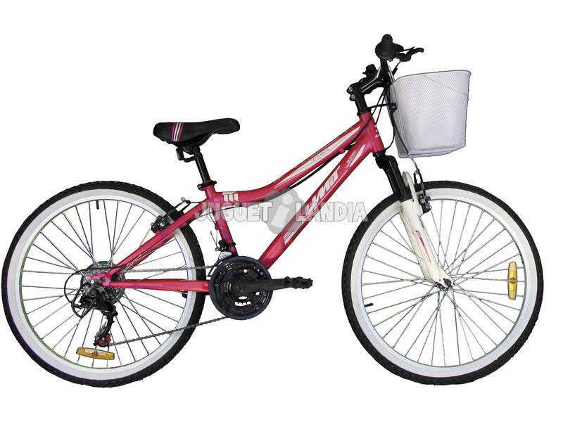 Bicicleta Diana 24 Blanca y Rosa con Cambio Shimano 18v y Cesta Umit 2472CS-53