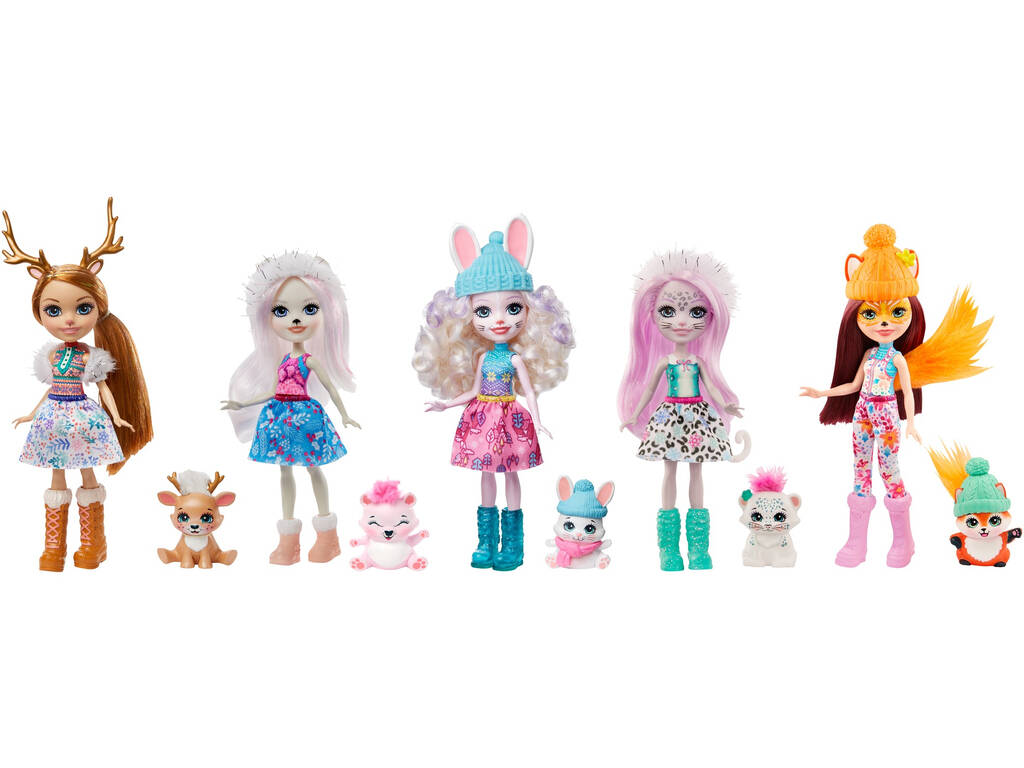 Enchantimals Pack 5 Muñecas Colección de Amigas en la Nieve Mattel GXB20