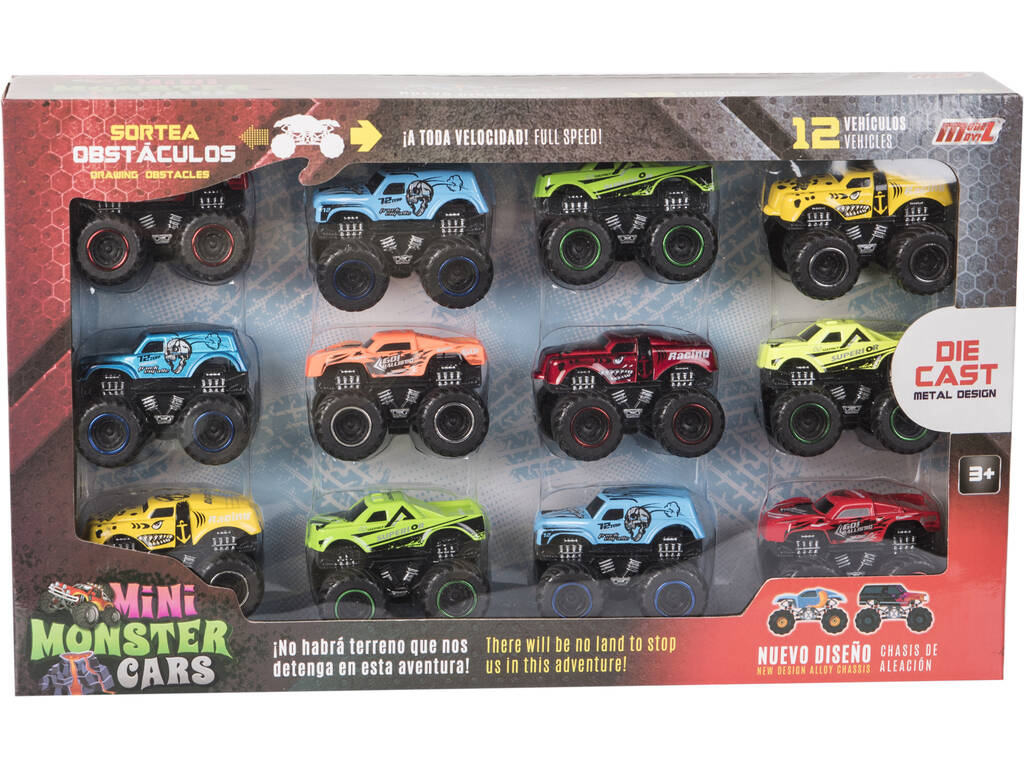 Set 12 Minimonster Cars Die Cast